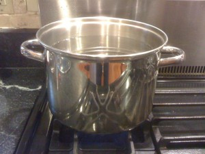 Heat a pot 1 1/2 gallons of water